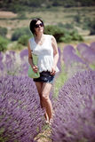 Chinese Girl in Lavender Field Stock Photo