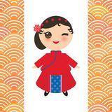 Chinese girl in national costume and hat. Cartoon children in traditional China dress. scales simple pattern background with. Japanese wave. Vector illustration stock illustration