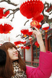 Chinese girl in New Year stock photo