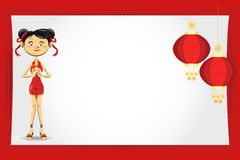 Chinese Girl New Year Greeting Card. An Illustration Of Chinese Girl New Year Greeting Card. rnUseful As Icon, Illustration And Background For Chinese New Year stock illustration