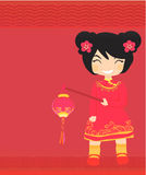 Chinese Girl New Year Greeting Card Stock Images