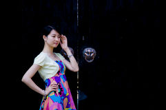 A Chinese girl in old town Stock Photography
