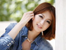 Chinese girl outdoor. Chinese fashion girl outdoor portrait Stock Photo