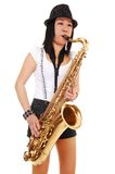 Chinese girl playing the saxophone. stock images