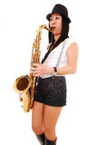 Chinese Girl Playing The Saxophone. Royalty Free Stock Photo