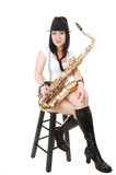 Chinese Girl Playing The Saxophone. Stock Photos