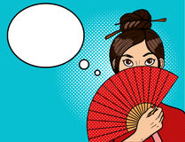 Chinese girl in pop art. Young sexy woman with a beautiful fan. Chopsticks on the head. Vector illustration in retro comic style Stock Images