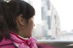 Chinese girl in the railway station Royalty Free Stock Photos