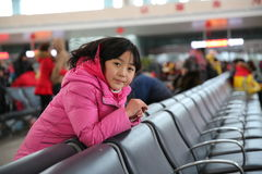 Chinese girl in the railway station. 