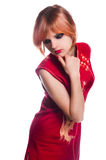 Chinese girl in red dress Stock Photos