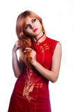 Chinese girl in red dress Stock Photo