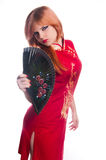 Chinese girl in red dress Stock Images