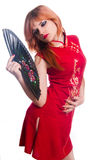 Chinese girl in red dress Royalty Free Stock Photography
