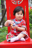 Baby with red dress royalty free stock photo