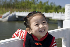 Chinese girl with smile. The Chinese girl looking at the camera lens with smile Royalty Free Stock Images