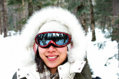 Chinese girl with snow goggles. Take photos in the forest Royalty Free Stock Images