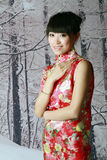 Chinese girl in the snow scenes. A Chinese girl in traditional dress is on the snow scenes background Stock Photography