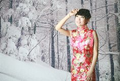 Chinese girl in the snow scenes Royalty Free Stock Images