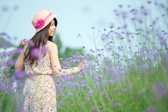 Chinese girl standing in the lavender Royalty Free Stock Photos