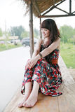 Chinese girl in the suburb Royalty Free Stock Photos