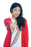 Chinese girl thumbs up Royalty Free Stock Photo