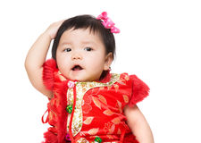 Chinese girl touch head Royalty Free Stock Image