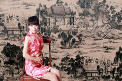 Chinese girl in traditional dress Royalty Free Stock Images