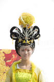 Chinese girl traditional headdress Royalty Free Stock Images
