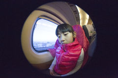 Chinese girl on the train Stock Photo