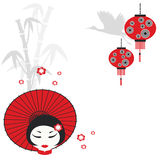 Chinese girl with umbrella Stock Photo
