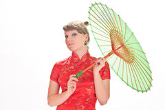 Chinese girl with umbrella Royalty Free Stock Photo