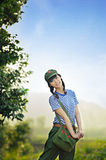 A Chinese girl in uniform Royalty Free Stock Photo