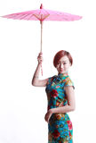 Chinese Girl Wearing A Cheongsam Umbrella Stock Photos