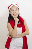 Chinese girl wearing Christmas hat. Is smiling happily Stock Image