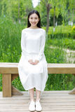 Chinese girl wearing a white dress Royalty Free Stock Photo