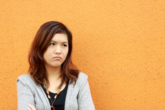 A Chinese girl who is very sad Royalty Free Stock Photos
