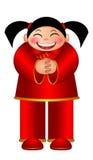Chinese Girl Wishing Happy New Year Illustration Royalty Free Stock Photography