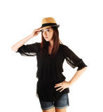 Chinese Girl With Straw Hat. Royalty Free Stock Images