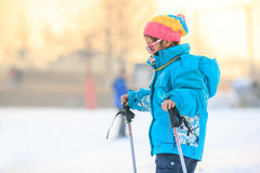 Chinese girls are practicing skiing Stock Images