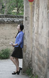 Chinese girls wear student clothes in Republic of China Royalty Free Stock Photo