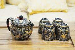 The Chinese glazed tea set Stock Photo