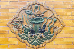 Chinese glazed tile picture. Traditional glazed tile picture wall in Forbidden City Stock Images