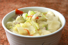 Chinese gnocchi. With carrot, pork, Chinese cabbage Stock Images