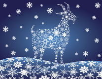 2014 Chinese Goat Snowflakes Vector Illustration Royalty Free Stock Photos