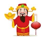Chinese God die van Rijkdom traditionele lantaarn houden royalty-vrije illustratie