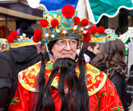 Chinese god of fortune. LONDON - FEBRUARY 22nd: The god of fortune at the Chinese new year celebrations on February the 22nd, 2015, in London, England, UK Royalty Free Stock Photo