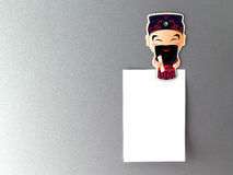 Chinese God fridge magnet with blank note Royalty Free Stock Images