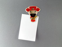 Chinese God fridge magnet with blank note Royalty Free Stock Photos