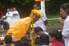 Chinese god of Mercy Guan yim spiritual medium blessing people at Palian distric during. Trang, Thailand - October 15, 2018: Chinese god of Mercy Guan yim stock photography