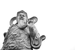 Chinese God Of War Ancient Stone Statue Isolated Royalty Free Stock Images